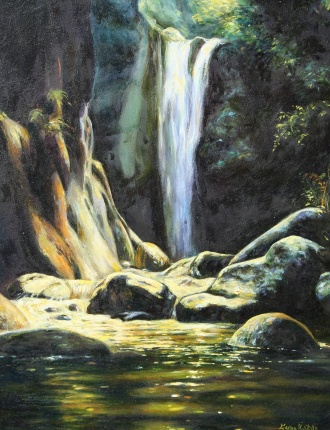 , Oil on canvas, Waterfall